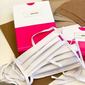 A LIPOELASTIC® újrahasználható, mosható, vasalható textilmaszk, fehér színű