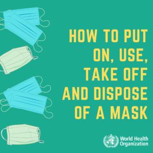 A szájmaszk helyes használata a WHO szerint